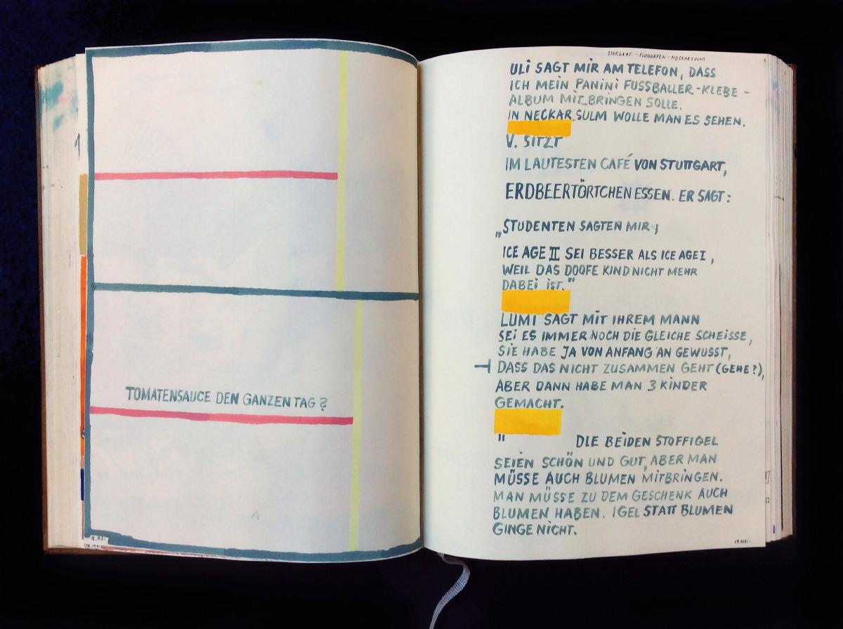 2006 Ich höre pausenlos Dinge wie: »Was aussieht wie ein Wünschelrutengänger ist ein Polizist mit Bombendetektor.« Das sagt am 5. August ein Kopf aus zerlaufender Farbe. Mehrere formatfüllende Gouache-Monsterköpfe, zum Teil abgeleitet von Panini-Fußballerbildchen (Italiener?) und kleinen Portäts aus der Tageszeitung : »Was für ein Tag für meine armen Eier!«