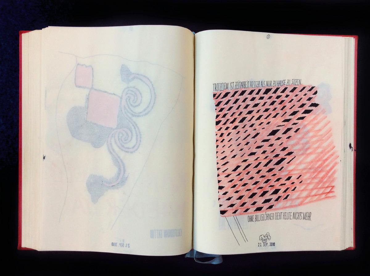 2010 Ich fange wieder an. Auf Dünndruckpapier mit »Rapi« und zeichne nurmehr auf der rechten Seite, auf der linken Seite schlägt deutlich der Vortag durch, von nun an unüberzeichnet. »Da ich untergetaucht bin, habe ich Zeit, Tag und Nacht die Nachrichten zu verfolgen.«(12. 6.)