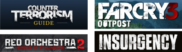 Abbildung 14: von oben im Uhrzeigersinn: Counter Terrorism Guide Logo, https://www.nctc.gov/site/index.html, Stand: 13.5.2016; Farcry 3 Outpost Logo, http://farcryoutpost.ubi.com/?do=profile, Stand: 27.9.2016; Red Orchestra 2 Logo, http://www.heroesofstalingrad.com/, Stand 27.9.2016; Insurgency Logo, http://newworldinteractive.com/#insurgency, Stand: 27.9.2016.