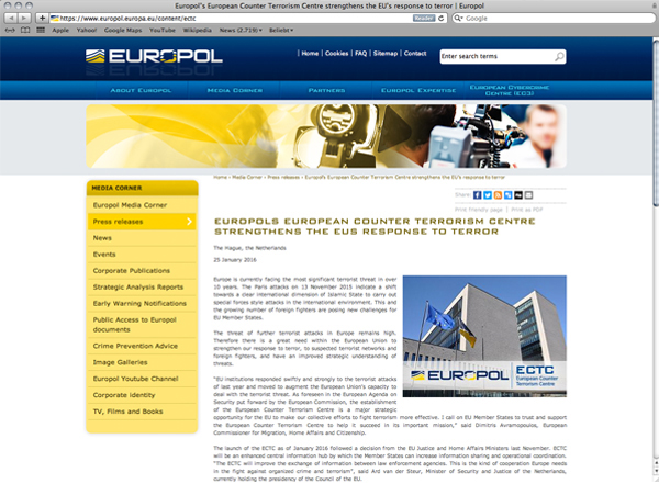 Abbildung 17: Europol Website Screenshot, https://www.europol.europa.eu/content/ectc, Stand 27.9.2016.