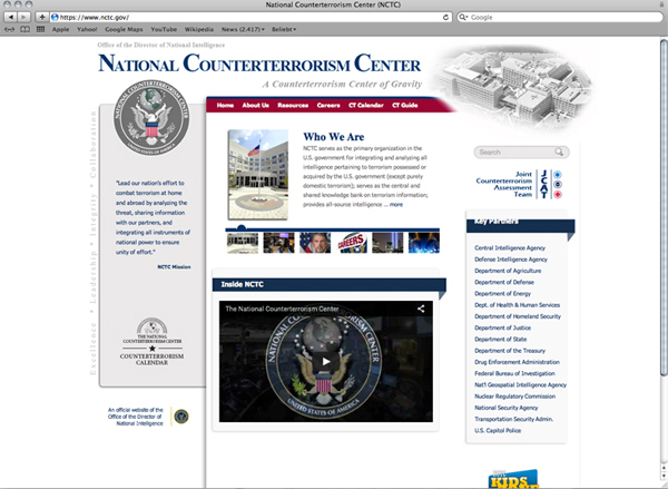 Abbildung 1: National Counterterrorism Center Website Screenshot, https://www.nctc.gov, Stand 18.5.2016.