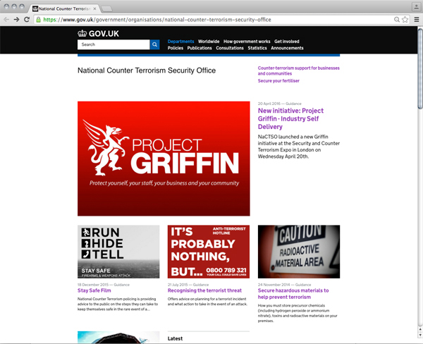Abbildung 20: National Counter Terrorism Security Office Website Screenshot, https://www.gov.uk/government/organisations/national-counter-terrorism-security-office, Stand: 30.9.2016.