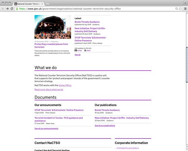 Abbildung 21: National Counter Terrorism Security Office Website Screenshot, https://www.gov.uk/government/organisations/national-counter-terrorism-security-office, Stand: 30.9.2016.