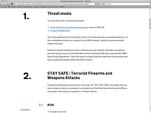 Abbildung 22: National Counter Terrorism Security Office Website, Screenshot, https://www.gov.uk/government/publications/recognising-the-terrorist-threat/recognising-the-terrorist-threat, Stand: 30.9.2016.